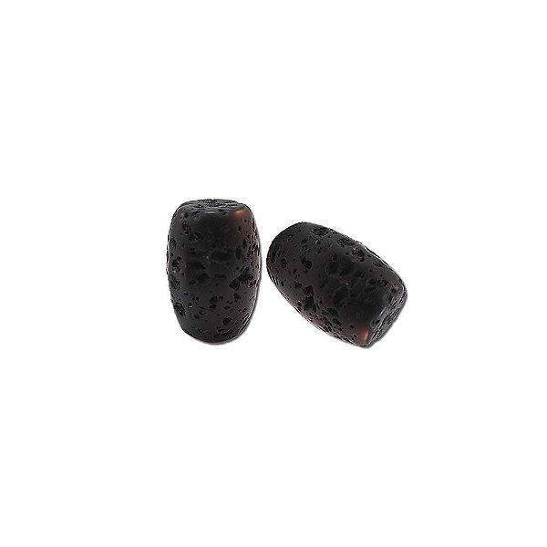 10-0049 - Pacote com 1 Kg de Pedra Vulcânica Preta Tubo com Passante 10mmx18mm
