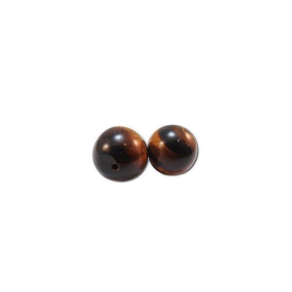 10-0081 - Pacote com 10 Pedras Olho de Tigre Bola com Meio Furo 12mm