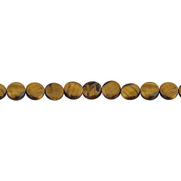 10-0087 - Fio de Pedras Olho de Tigre Discos com Passante 12mm