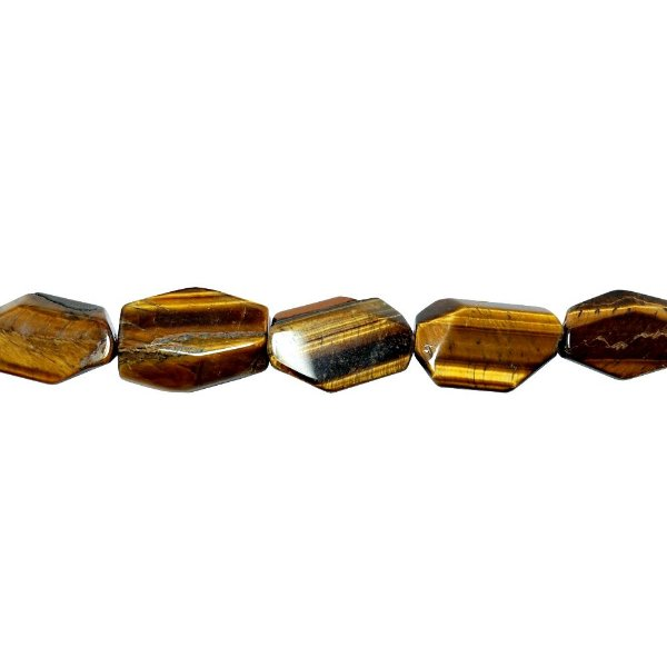 10-0104 - Fio de Pedras Olho de Tigre Irregulares com Passante 20mmx29mm