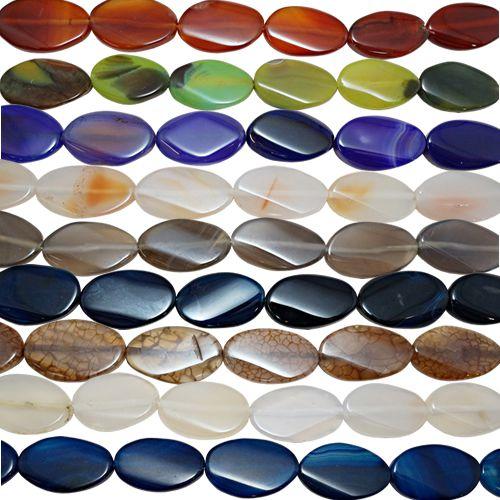 10-0113 - Fio de Pedras Àgata Coloridas Ovais com Passante 21mmx30mm