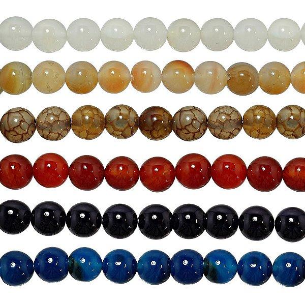 10-0116 - Fio de Pedras Ágata Coloridas Bolas com Passante 12mm