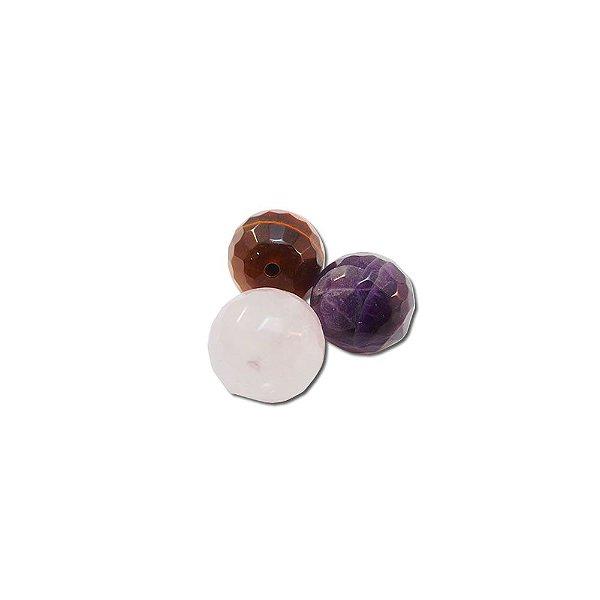 10-0121 - Pacote com 100 Pedras Coloridas Bola Facetada com Meio Furo 10mm