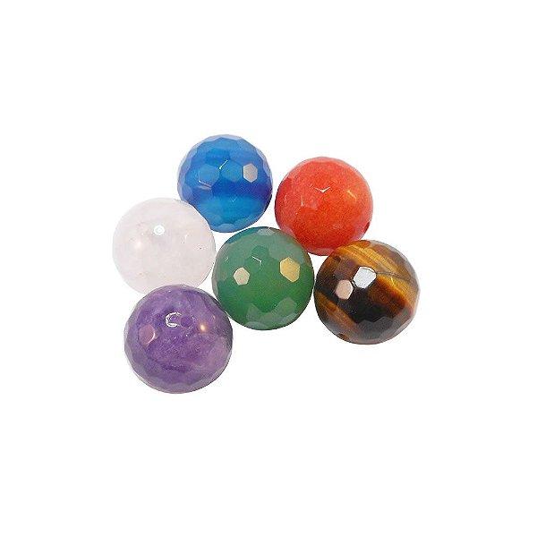 10-0122 - Pacote com 10 Pedras Quartzo Colorido Bola Facetada com Meio Furo 12mm