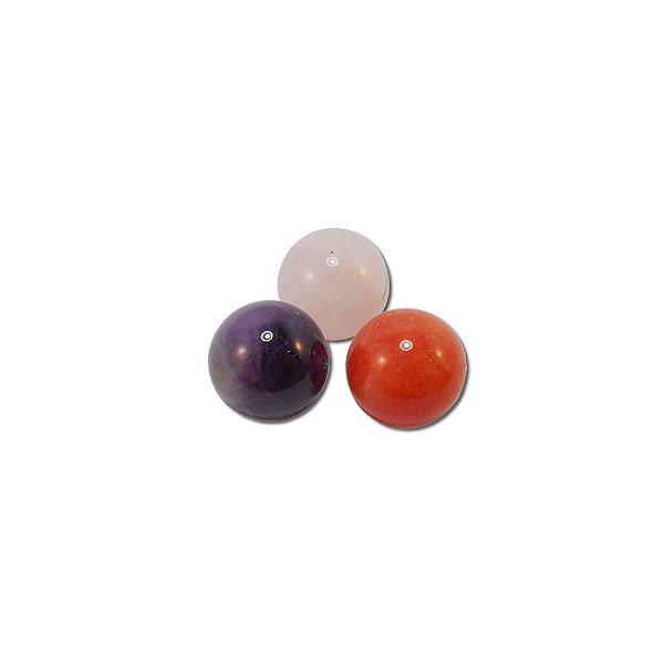 10-0123 - Pacote com 10 Pedras Quartzo Bola com 1/2 Furo 12mm