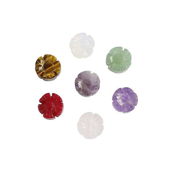 10-0128 - Pacote com 10 Pedras Quartzo Colorido Flor com Passante 12mm