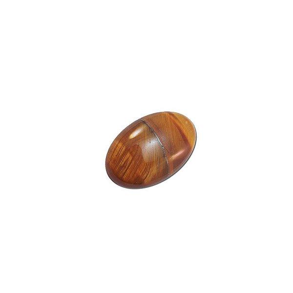 10-0131 - Pacote com 10 Pedras Olho de Tigre Chaton Oval 22mmx18mm