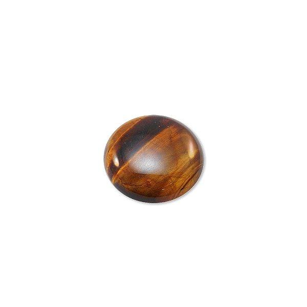 10-0132 - Pacote com 10 Pedras Olho de Tigre Chaton Redondo 25mm