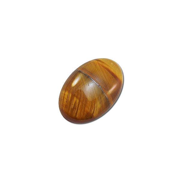 10-0136 - Pacote com 10 Pedras Olho de Tigre Chaton Oval 20mmx30mm