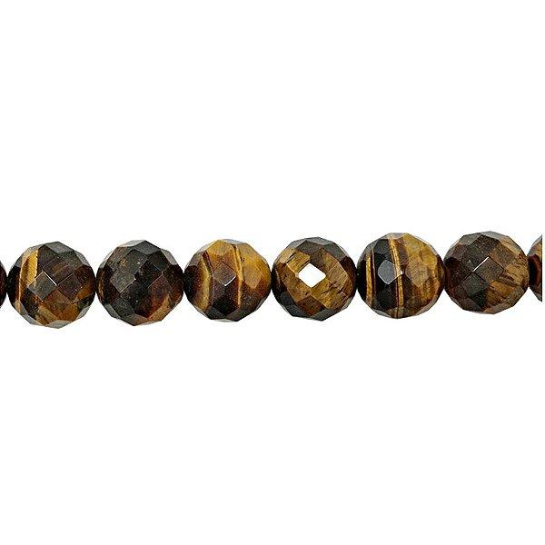 10-0146 - Fio de Pedras Olho de Tigre Bolas Facetadas com Passante 12mm