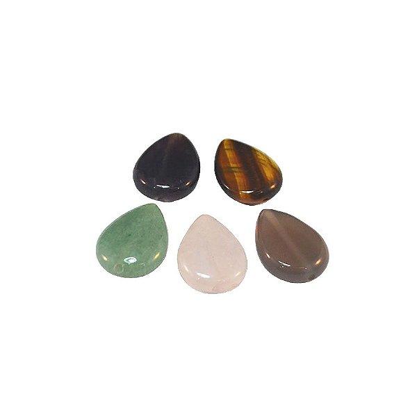 10-0165 - Fio de Pedras Quartzo Colorido Gotas com Passante 19mmx14mm