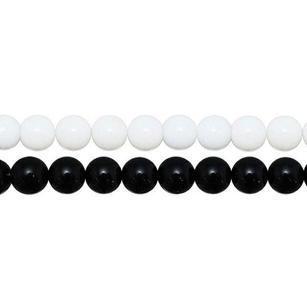 10-0183 - Fio de Pedras Coloridas Bolas Lisas com Passante 10mm