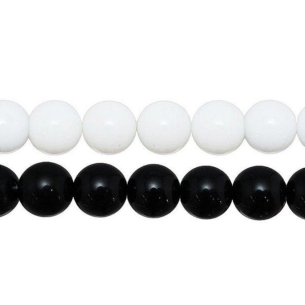 10-0185 - Fio de Pedras Coloridas Bolas Lisas com Passante 14mm