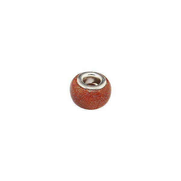 10-0190 - Pacote com 10 Berloques em Pedra Gold Stone estilo Pandora 14mm
