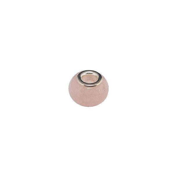 10-0190 - Pacote com 10 Berloques em Pedra Quartzo Rosa estilo Pandora 14mm