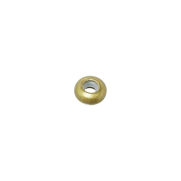 01-1809 - Pacote com 100 Bolas em Latão Achatada com Silicone 10mmx4mm