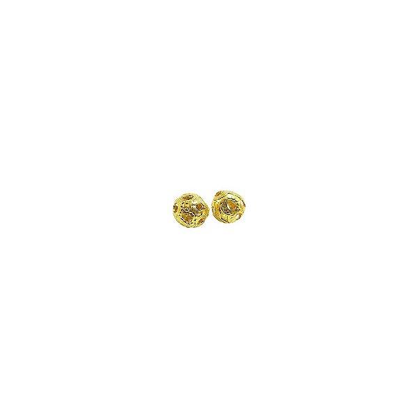 01-0122 - Pacote com 1000 Bolas em Latão Vazadas com Relevo 4mm