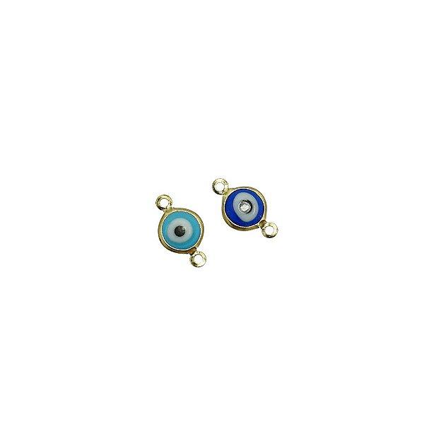 01-2131 - Pacote com 200 Entremeios Latão Olho Grego com 2 Saídas 8mm