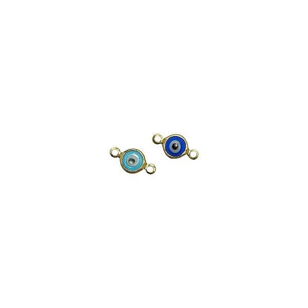 01-2130 - Pacote com 200 Entremeios Latão Olho Grego com 2 Saídas 6mm