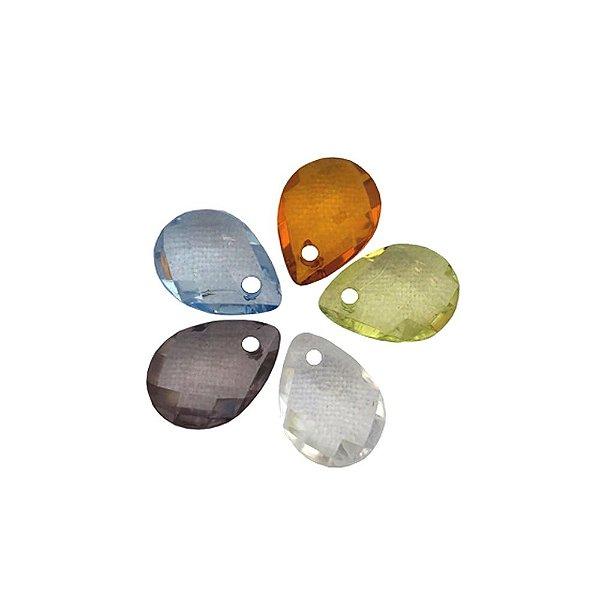 05-0024 - Pacote com 1 Kg de Acrílico Gota Facetado Pingente 12mmx16mm
