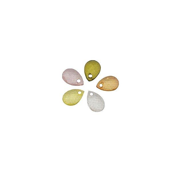 05-0055 - Pacote com 1 Kg de Acrílico Colorido Gota Pingente Facetada 6mmx8mm