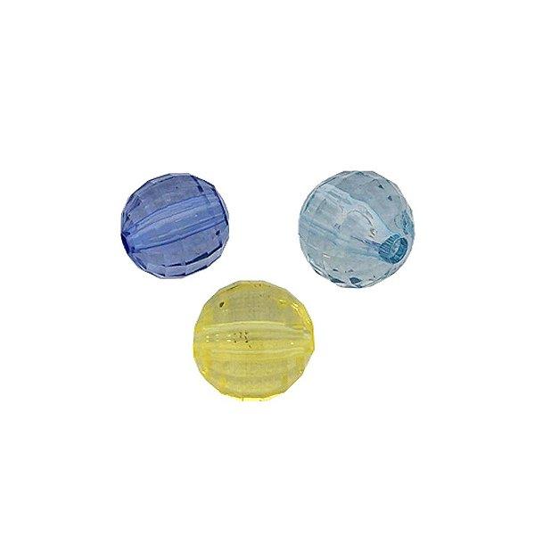 05-0160 - Pacote com 1 Kg de Acrílico Colorido Bola Facetada 12mm
