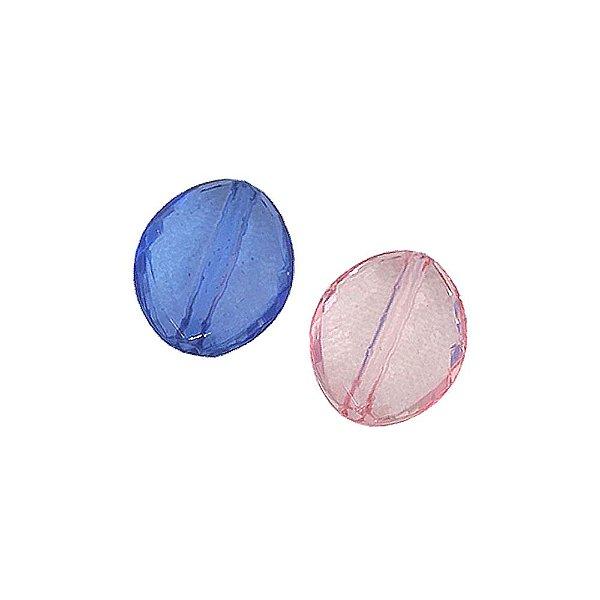 05-0177 - Pacote com 1 Kg de Acrílico Colorido Oval Facetado 18mmx20mm