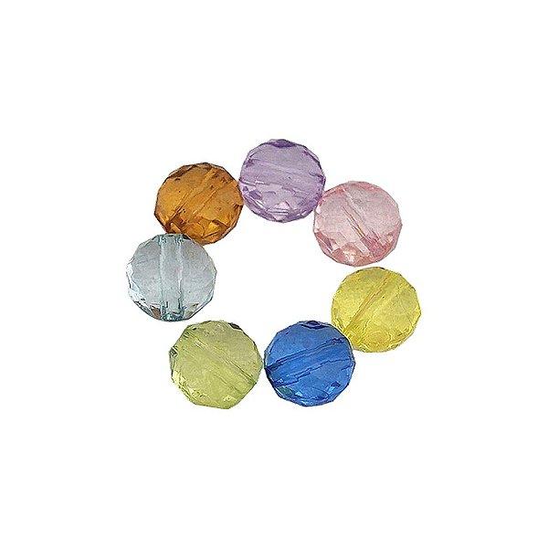 05-0199 - Pacote com 1 Kg de Acrílico Colorido Bola Facetada Achatada 10mm