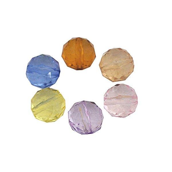 05-0200 - Pacote com 1 Kg de Acrílico Colorido Bola Facetada Achatada 14mm