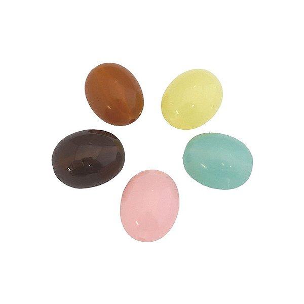 05-0294 - Pacote com 1 Kg de Acrílico Colorido Oval com Passante 20mmx22mm