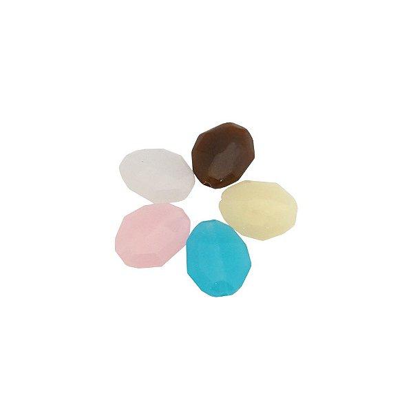 05-0305 - Pacote com 1 Kg de Acrílico Colorido Leitoso Oval Facetado 20mmx24mm