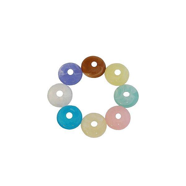 05-0336 - Pacote com 1 Kg de Acrílico Marmorizado Disco com Furo Central 14mm