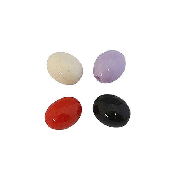05-0423 - Pacote com 1 Kg de Acrílico Colorido Oval com Passante 11mmx13mm