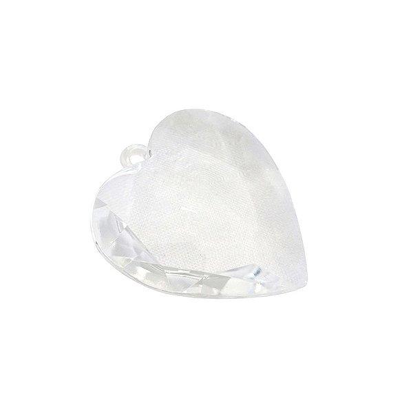 05-0638 - Pacote com 1 Kg de Acrílico Cristal Pingente Coração Facetado 50mmx52mm