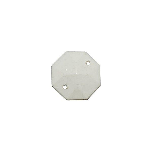 05-0666 - Pacote com 1 Kg de Acrílico Branco Octógono com Dois Furos 22mm