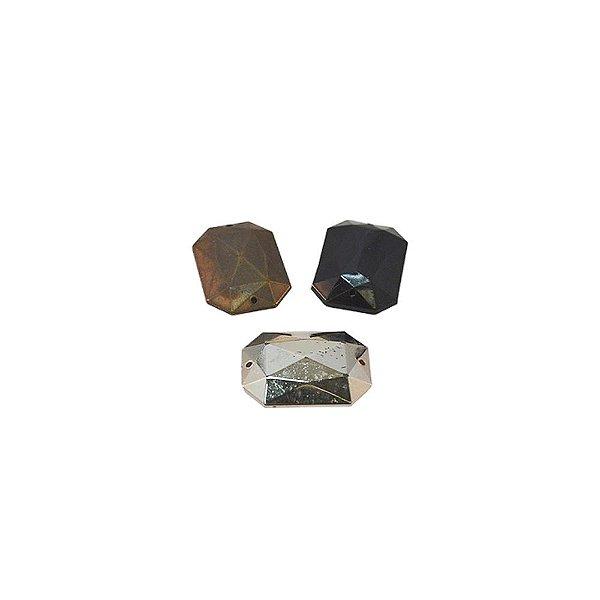 05-0675 - Pacote com 1000 Acrílicos Coloridos Retangulares Facetados 18mmx13mm