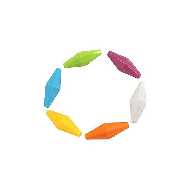 05-0715 - Pacote com 1Kg de Acrílico Balão Facetado 13mmx35mm