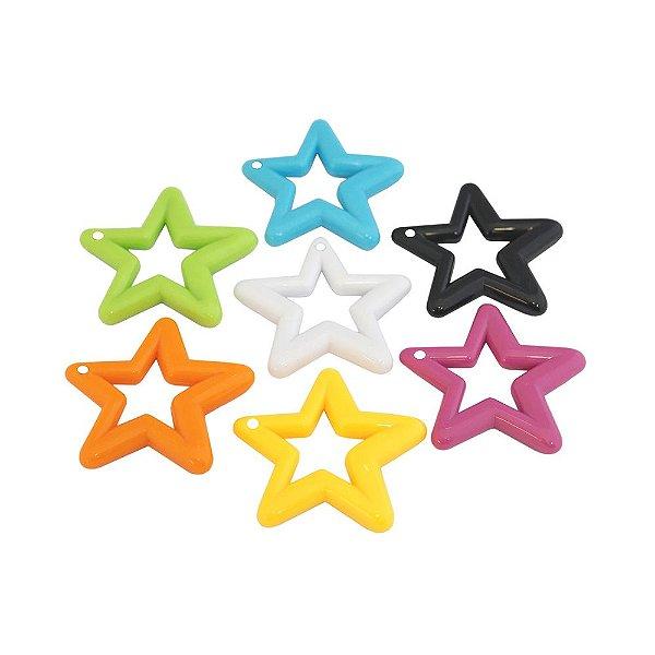 05-0722 - Pacote com 1Kg de Acrílico Pingente Estrela Grande 48mm