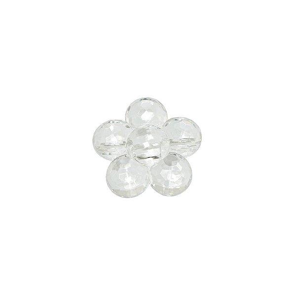 05-0748 - Pacote com 1 Kg de Acrílico Cristal Facetado Flor 30mm