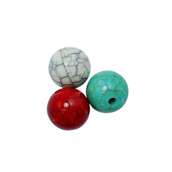 05-0815 - Pacote com 1 Kg de Acrílico Colorido Bola Imitação de Pedra 14mm