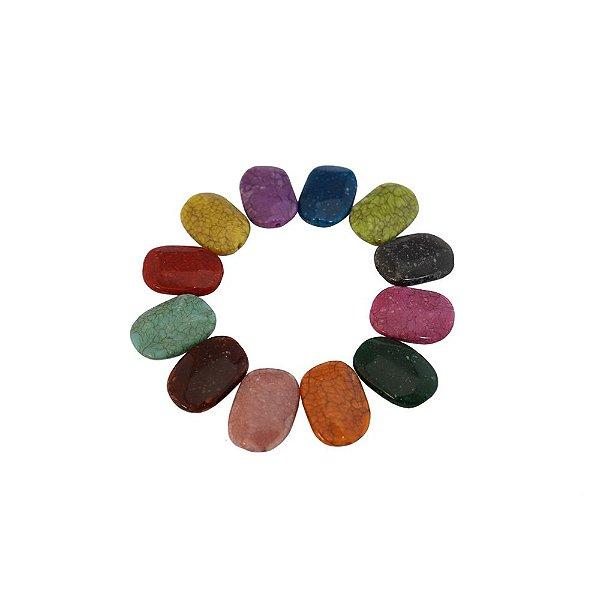 05-0903 - Pacote com 1Kg de Acrílico Oval Imitação de Pedra  20mmx29mm