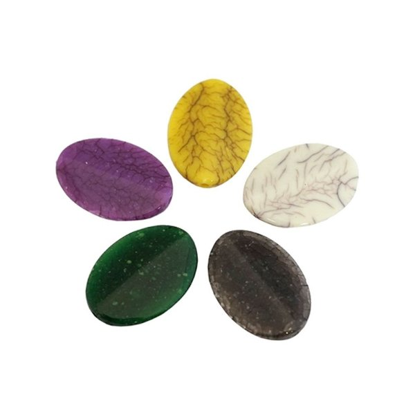 05-0912 - Pacote com 1 Kg de Acrílico Colorido Oval Imitação de Pedra 20mmx29mm