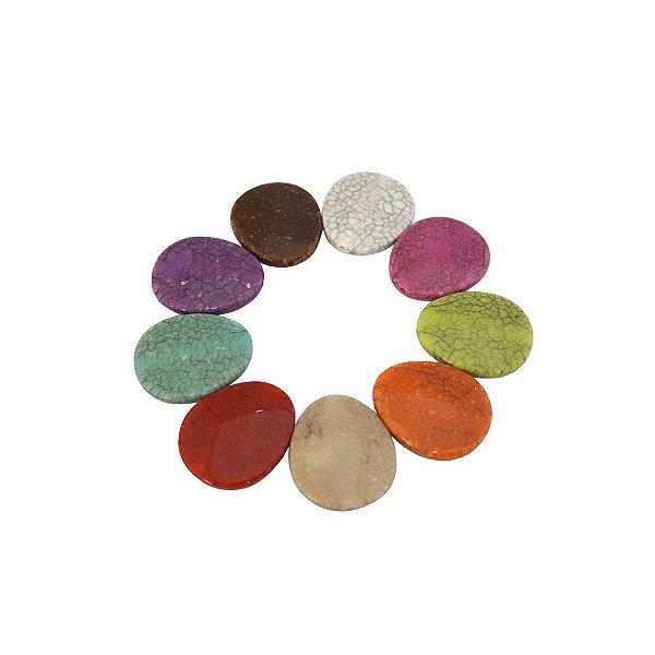 05-0913 - Pacote com 1Kg de Acrílico Oval Imitação de Pedra 31mmx37mm