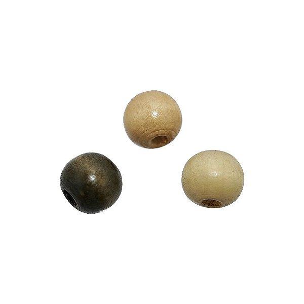 04-0002 - Pacote com 1000 Madeiras Bola com Passante Largo 12mmx9mm