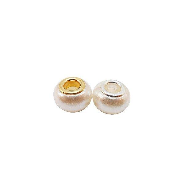 08-0044 - Pacote com 100 Berloques de Pérola Estilo Pandora 13mmx9mm
