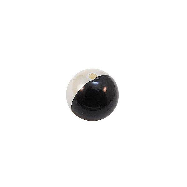 08-0047 - Pacote com 1 Kg de Peróla Bola Marfim e Preta 18mm