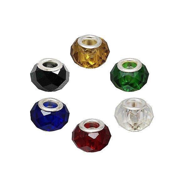 11-0175 - Pacote com 100 Berloques em Vidro Facetado estilo Pandora 13mm