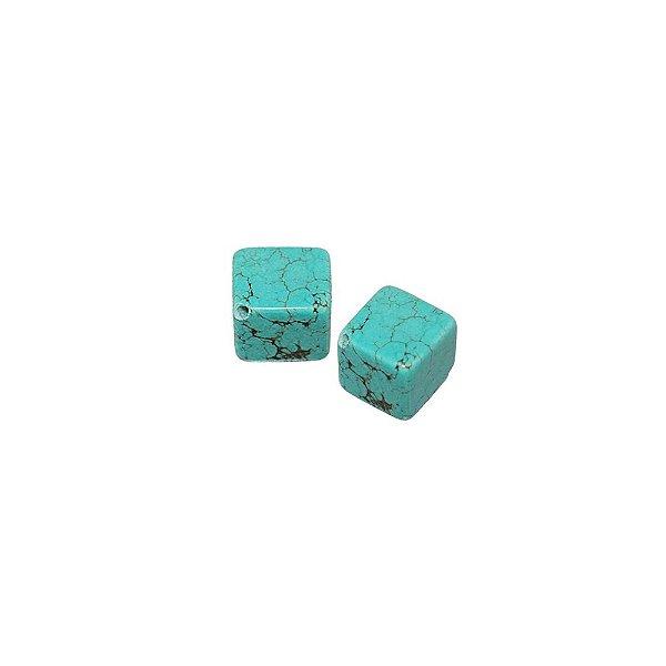 10-0029 - Pacote com 1 Kg de Pedra Turquesa Cubo com Passante 12mm