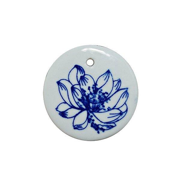 11-0142 - Pacote com 10 Pingentes de Vidro com Flor 45mm