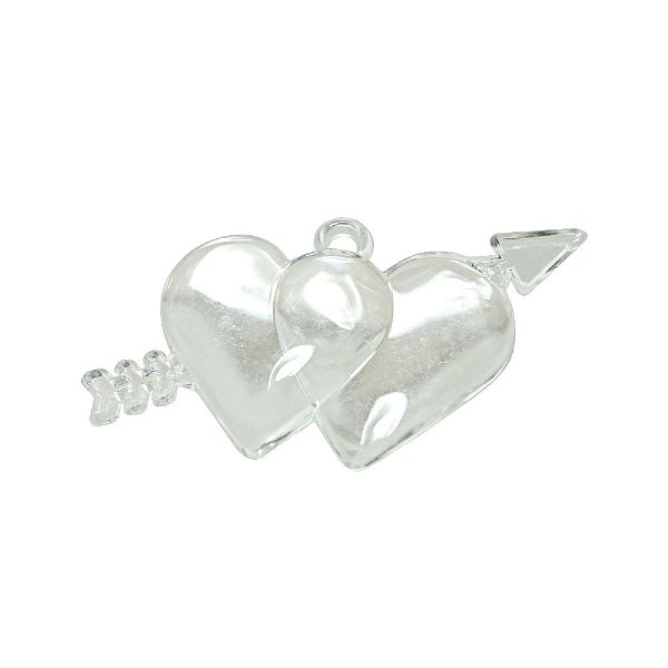 05-0980 - Pacote com 1 Kg de Acrílico Pingente Duplo Coração Cupido 71mmx36mm